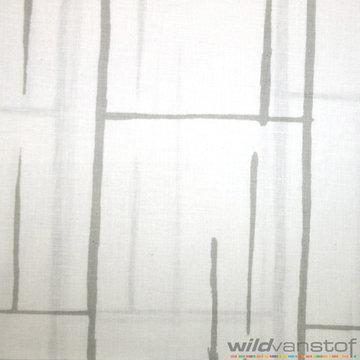 Lakenstof 250cm - Wit met lichtgrijze lijnen