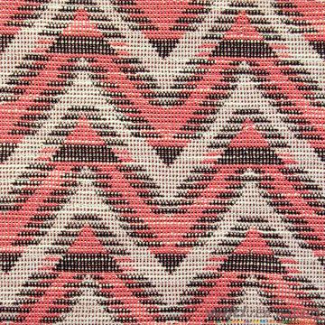 Jacquard zigzag roze-ecru