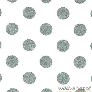 Katoen - Zilveren bollen op wit