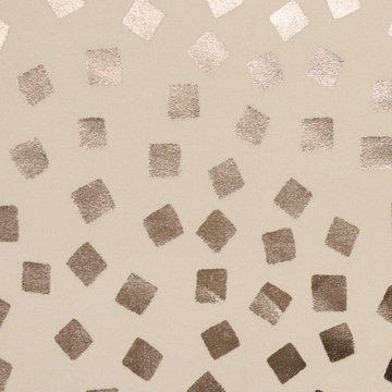 Katoen - Zilveren confetti op ecru