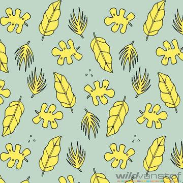 French terry - Gele bladeren op grijsgroen