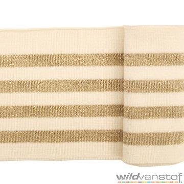 Glitter boord strepen - Ecru en goud