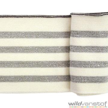 Glitter boord strepen - Ecru en zilver
