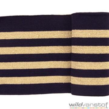 Glitter boord strepen - Marine en goud