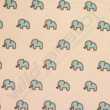 Flanel kleine olifantjes blauw