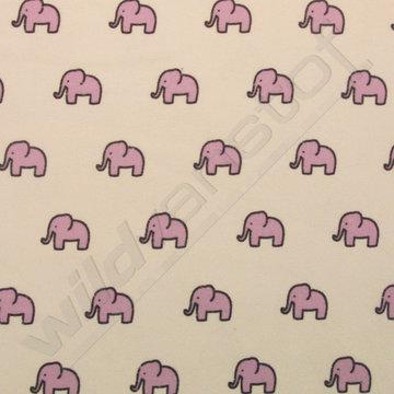 flanel kleine olifantjes paars