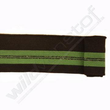 Glitter boord strepen - Zwart, groen en goud