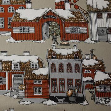 Kerstlandschap besneeuwde huizen