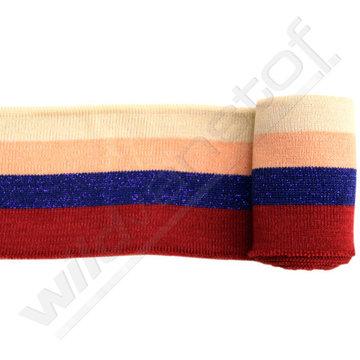 Glitter boord strepen - Ecru, roze, blauw en rood (1,20m)