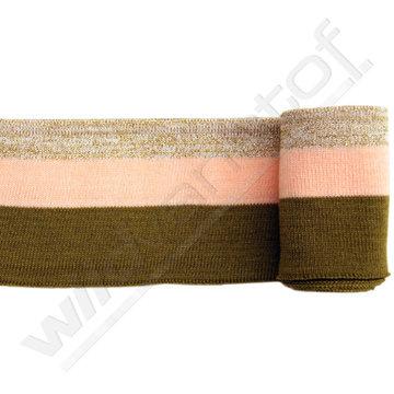 Glitter boord strepen - kakigroen, roze en goud (1,20m)