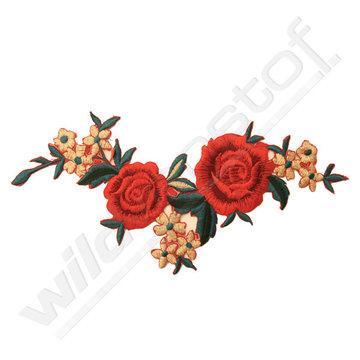 Applicatie broderie roos rood