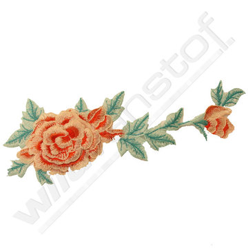 Applicatie broderie roos roze