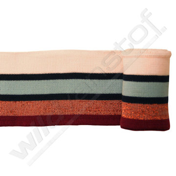 Glitter boord strepen - Bordeaux, brons, blauw, roze (1,20m)