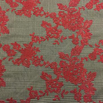Carreaux pied de poule bestikt rode bloemen