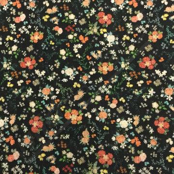 Kleine bloemetjes op zwart
