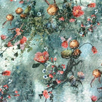 Pels - bloemenprint op groen