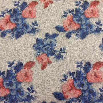 Wol - Bloemen rood blauw op grijs