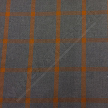 Polyester - Vierkanten roest op donkergrijs