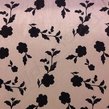 Velvet - Zwarte bloemen op beige