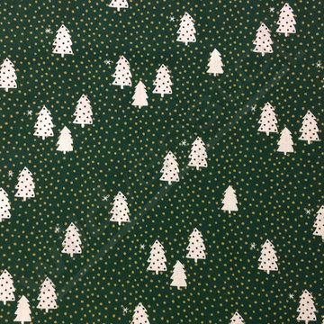 Katoen - Kerstboom met gouden stippen groen