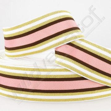Elastiek - Strepen goud-wit-bruin-roze
