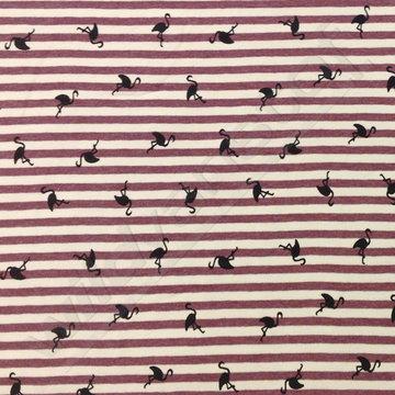 Tricot - Flamingo's op paars-roze strepen