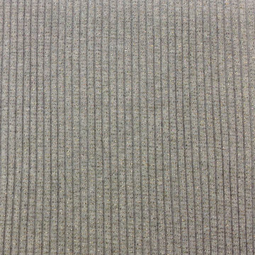 Boordstof - Rib glitter grijs