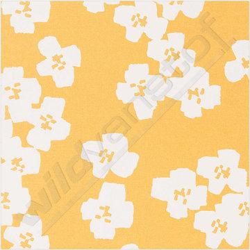 Gecoat katoen - Witte bloemen op oker