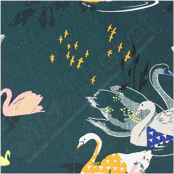 Gecoat katoen - Zwanen en vogels op groen