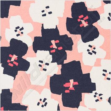 Gecoat katoen - Bloemen op roze