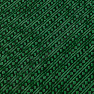 Mantelstof - Groene blokjes en strepen op zwart