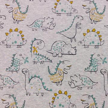 French terry - Dino's op grijs gemeleerd