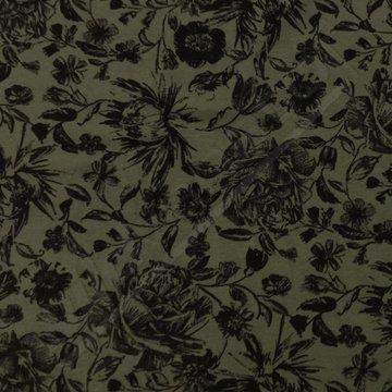 Sweater - Zwarte bloemen kaki