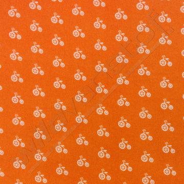 Flanel - Fietsen oranje