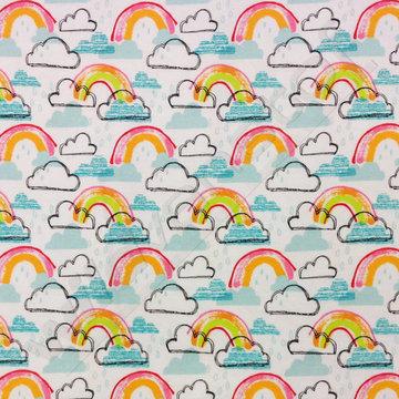 Flanel - Wolken en regenboog
