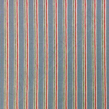 Katoen - Strepen jeansblauw-groen-wit-rood