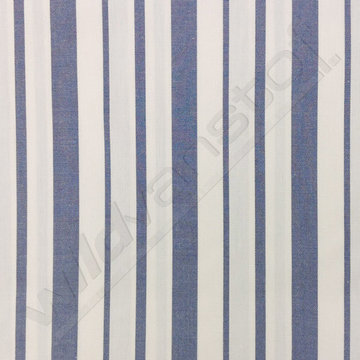 Katoen - Strepen jeansblauw-wit (breed)