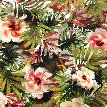 Stretch katoen - Grote bladeren en bloemen