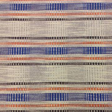Jacquard - Strepen grijs-zwart-oranje-blauw
