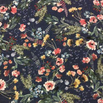 Katoen - Bloemenprint op blauw