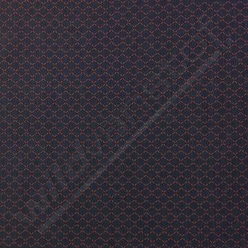 Katoen - Kleine rode zigzag op blauwpaars