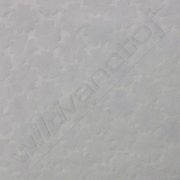 Katoen - Reliefbloemetjes op wit