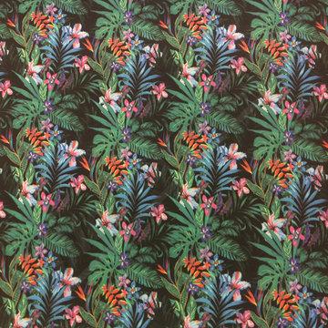 Lycra - Travelers jersey tropische bloemen