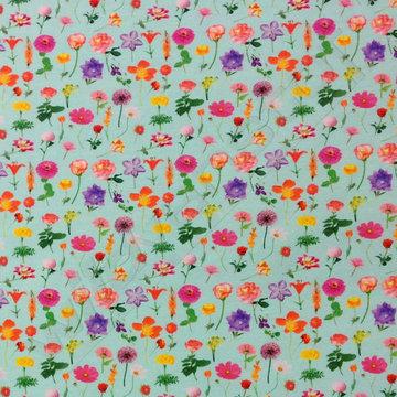 Tricot - Gekleurde bloemen op munt