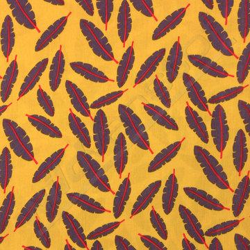 Viscose - Bladeren met rode steel op oker