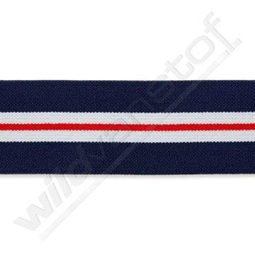 Elastiek - Strepen marineblauw-rood-wit