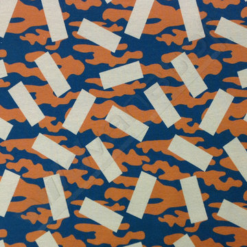 French terry - Rechthoeken camouflage bruin