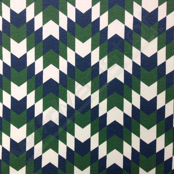 French terry - Pijlen blauw-groen-wit