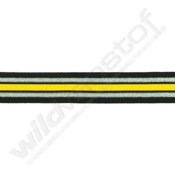 Broekstreep 30mm - Zwart-zilver-geel