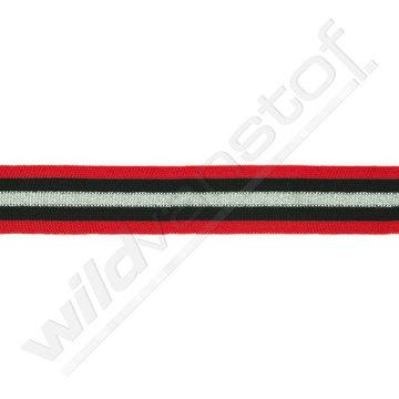 Broekstreep 30mm - Rood-zwart-zilver
